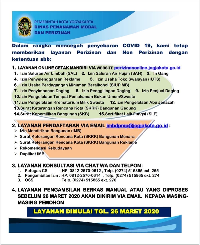Layanan Dinas Penanaman Modal dan Perizinan pada Masa Tanggap Darurat Bencana COVID-19