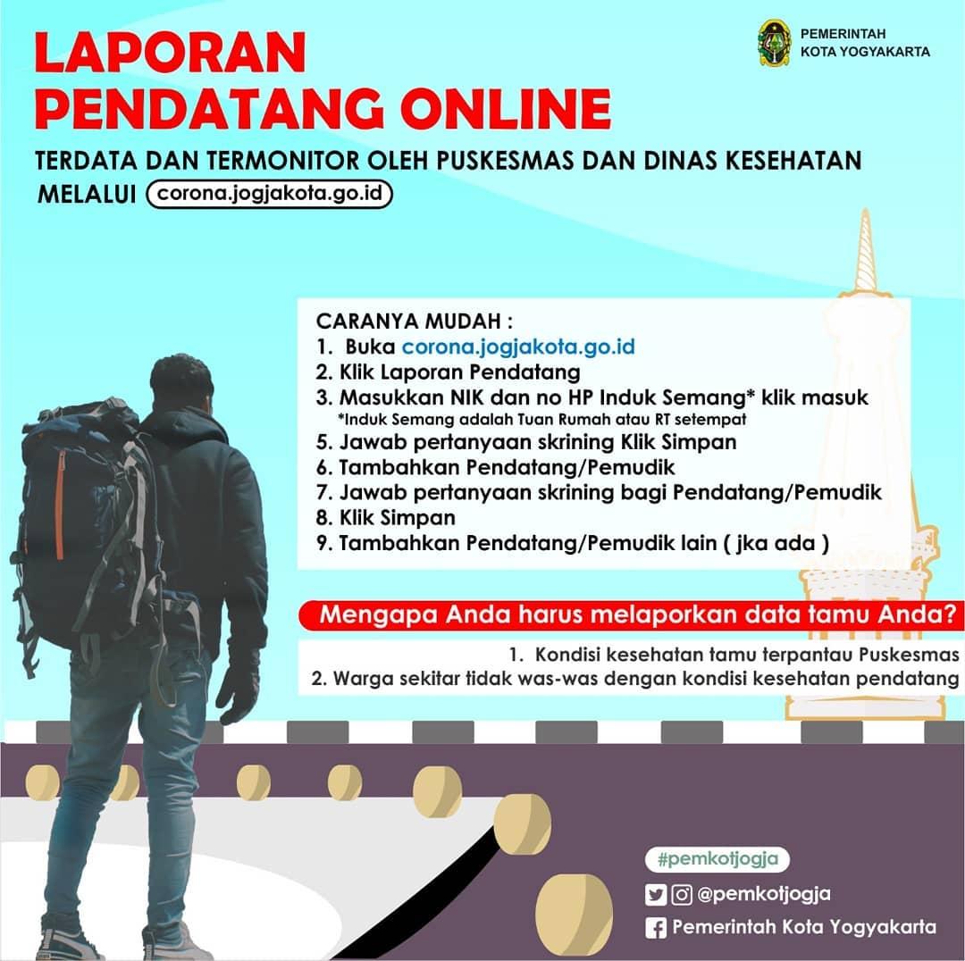 Pendatang dan Pemudik di Kota Yogyakarta Dapat Lapor Kedatangan secara Daring