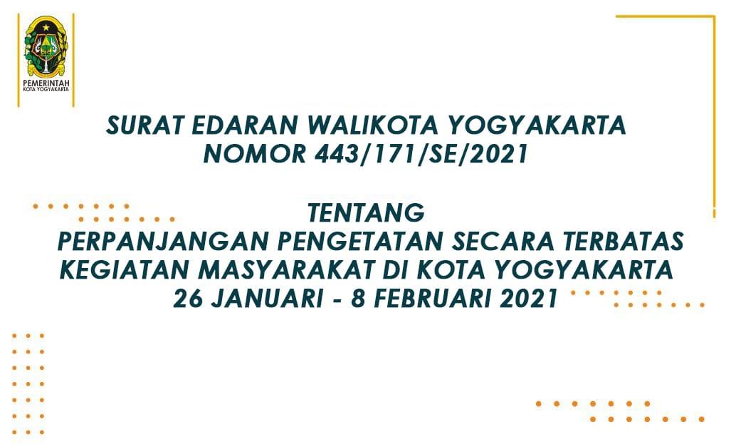 Perpanjangan Pengetatan Secara Terbatas Kegiatan Masyarakat di Kota Yogyakarta