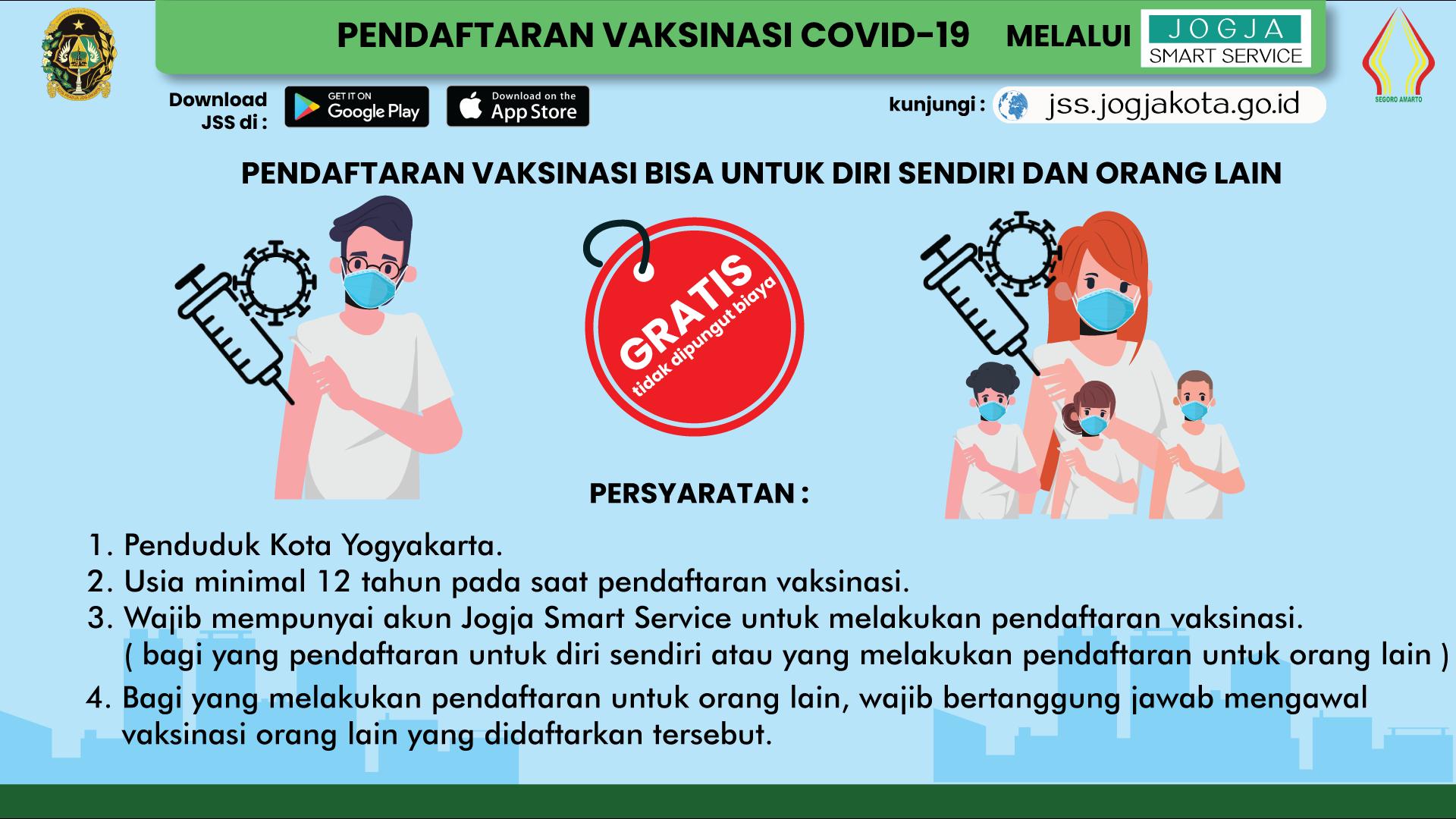 Pendaftaran Vaksinasi Covid-19 untuk Masyarakat Umum di Kota Yogyakarta